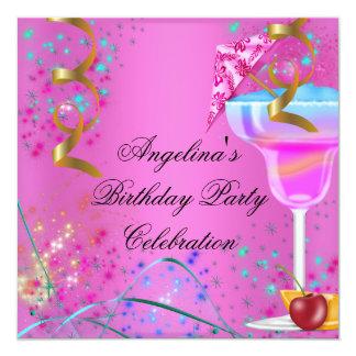 Cocktail colorido da festa de aniversário convite quadrado 13.35 x 13.35cm