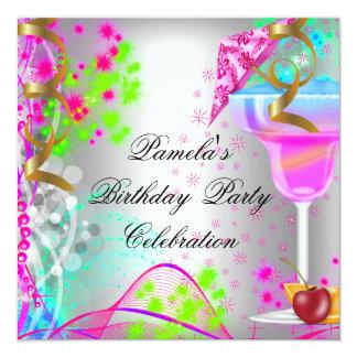 Cocktail colorido da festa de aniversário do verão convite quadrado 13.35 x 13.35cm