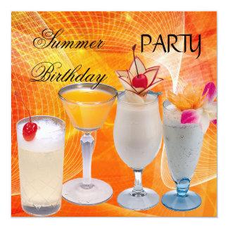 Cocktail da festa de aniversário do verão convite quadrado 13.35 x 13.35cm