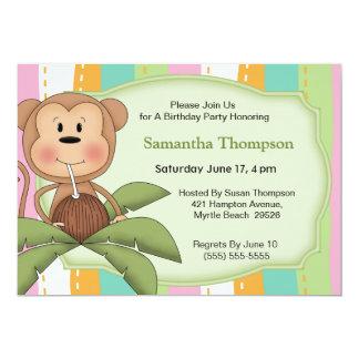 Coconut Monkey  Birthday Invitations