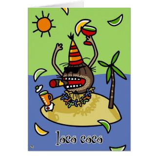 Cocos do louco cartão comemorativo