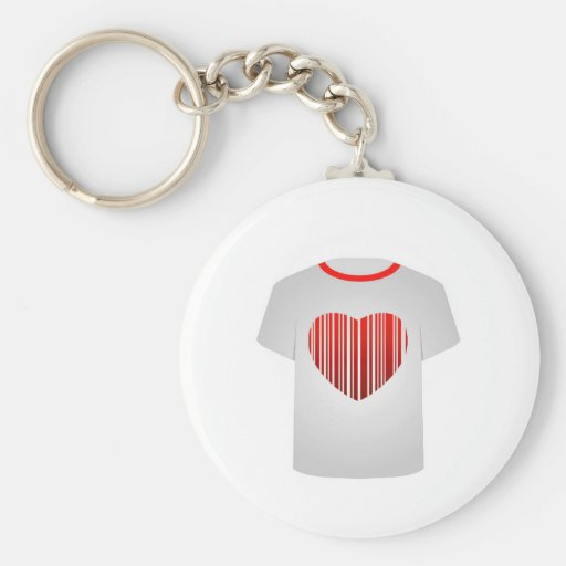Código de barras do coração do molde da camisa de chaveiro