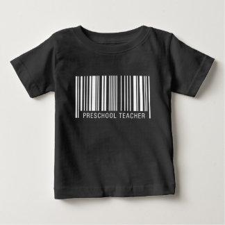 Código de barras pré-escolar do professor camiseta para bebê