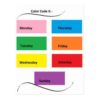 Código de cor ele dias visuais dos identificadores cartão postal