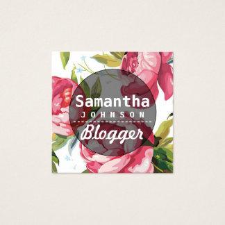 Código floral cor-de-rosa moderno do Blogger QR Cartão De Visitas Quadrado