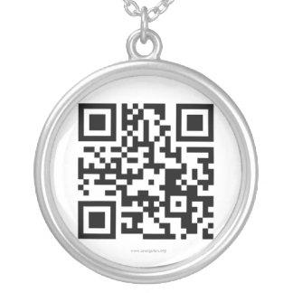 Código internacional da fundação QR do orangotango Colar Banhado A Prata
