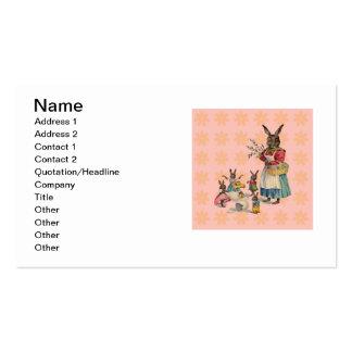 Coelhinho da Páscoa do vintage com flores do Cartão De Visita