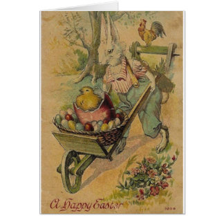 Coelhinho da Páscoa do vintage e cartão de páscoa