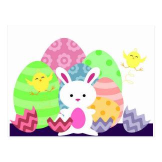 Coelhinho da Páscoa e ovos Cartões Postais