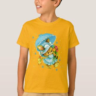Coelhinho da Páscoa e pintinho do vintage. O Camiseta