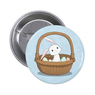 Coelhinho da Páscoa em uma cesta Bóton Redondo 5.08cm