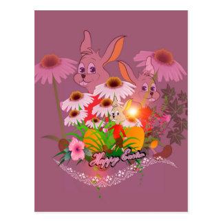 Coelhinho da Páscoa engraçado com ovos da páscoa Cartão Postal