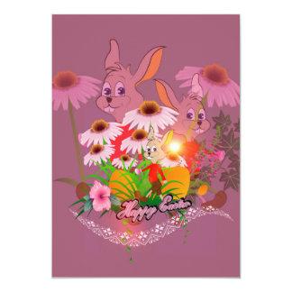 Coelhinho da Páscoa engraçado com ovos da páscoa Convite 12.7 X 17.78cm