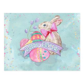 Coelhinho da Páscoa, ovos e confetes ID377 Cartão Postal