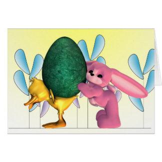 Coelhinho da Páscoa, pintinho da páscoa, ovo da Cartão Comemorativo