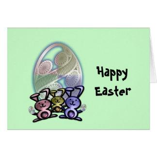 Coelhinhos da Páscoa bonitos e ovos Cartão Comemorativo