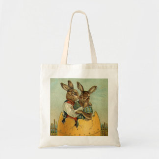 Coelhinhos da Páscoa do Victorian do vintage, ovo Sacola Tote Budget