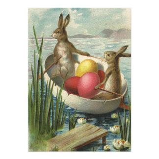Coelhinhos da Páscoa do Victorian do vintage, ovos Convites Personalizados