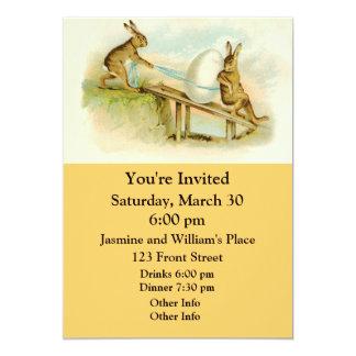 Coelhinhos da Páscoa do vintage Convite 12.7 X 17.78cm