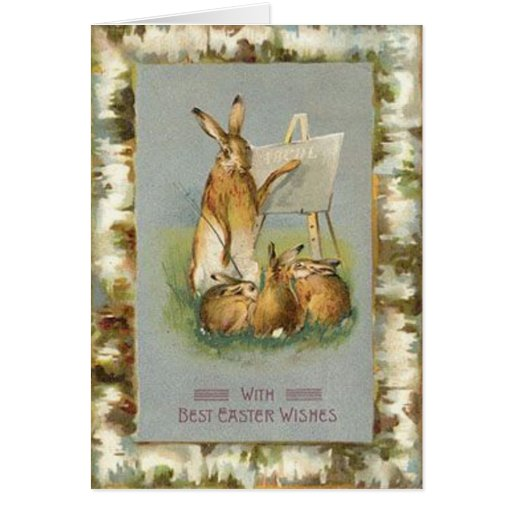 Coelhinhos da Páscoa do vintage que aprendem o car Cartão