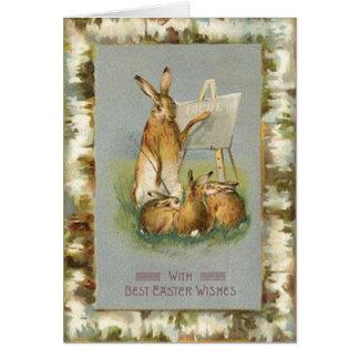 Coelhinhos da Páscoa do vintage que aprendem o Cartão Comemorativo