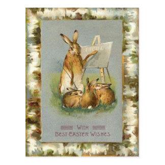 Coelhinhos da Páscoa do vintage que aprendem o Cartão Postal