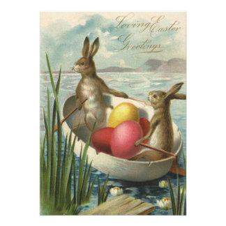 Coelhinhos da Páscoa e ovos da páscoa do vintage e Convites Personalizados