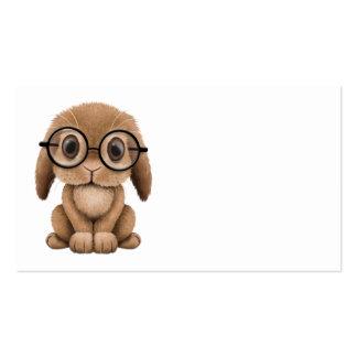 Coelho bonito do bebê de Brown que veste vidros Modelos Cartoes De Visita