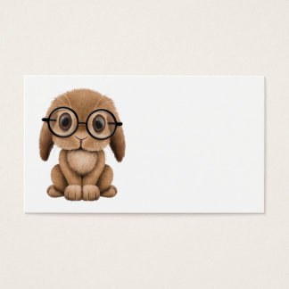 Coelho bonito do bebê de Brown que veste vidros Cartão De Visitas