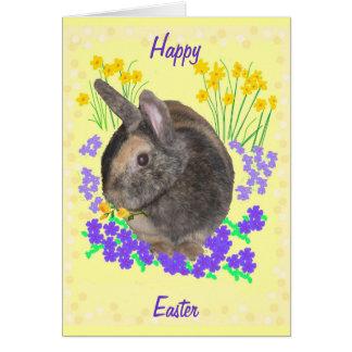 Coelho bonito e flores páscoa, Passover, Eastover Cartão Comemorativo