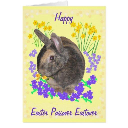 Coelho bonito e flores páscoa, Passover, Eastover Cartão
