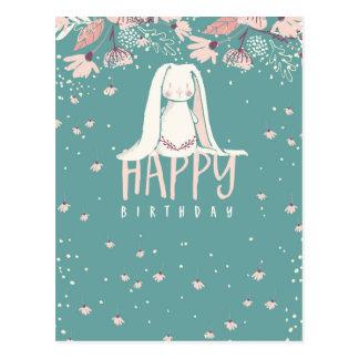 Coelho branco & feliz aniversario das flores | cartão postal