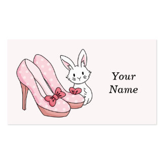 Coelho com calçados cor-de-rosa cartão de visita