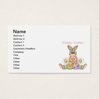 Coelho da menina do felz pascoa cartão de visitas