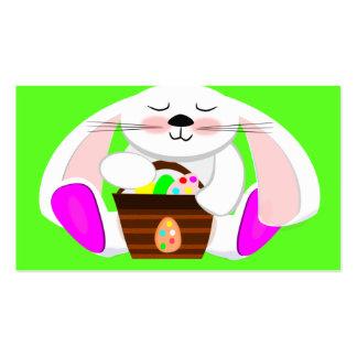 Coelho da páscoa e uma cesta dos ovos modelos cartoes de visita