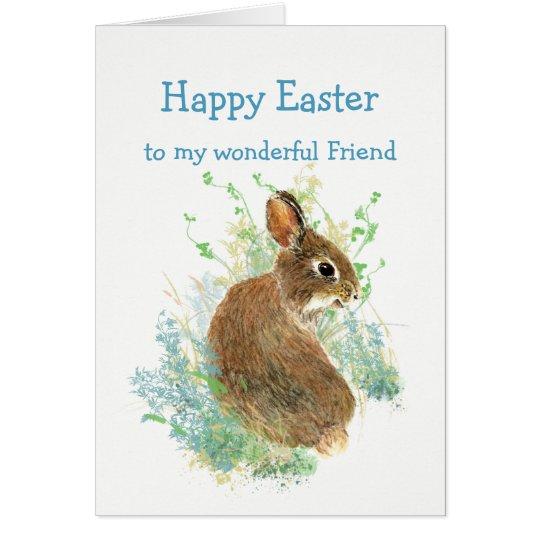 Coelho de coelho bonito da páscoa feita sob cartão comemorativo
