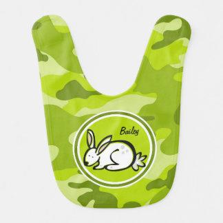 Coelho de coelho camo verde-claro camuflagem babador infantil
