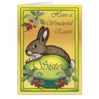 Coelho de felz pascoa com ovo, para a irmã cartão comemorativo