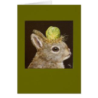 coelho do bebê com o cartão do chapéu da couve de
