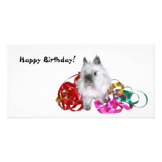 Coelho do feliz aniversario cartão com foto