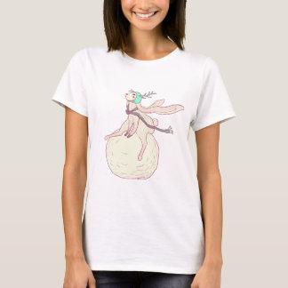 Coelho do inverno e bola da neve camiseta