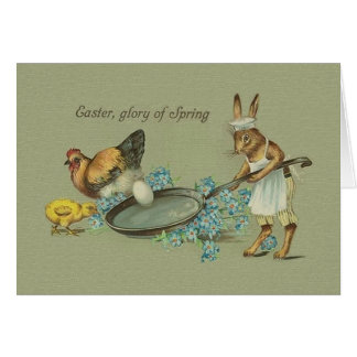 Cartão Coelho do vintage e cartão da páscoa da galinha