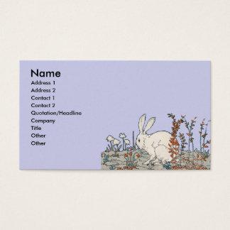 Coelho elegante do branco do vintage cartão de visitas