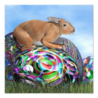 Coelho em seu ovo colorido para a páscoa - 3D Convite Quadrado 13.35 X 13.35cm