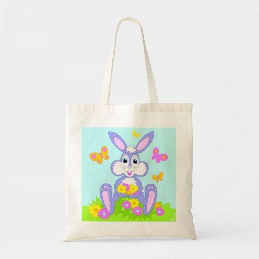Coelho feliz dos desenhos animados das flores de b bolsa de lona