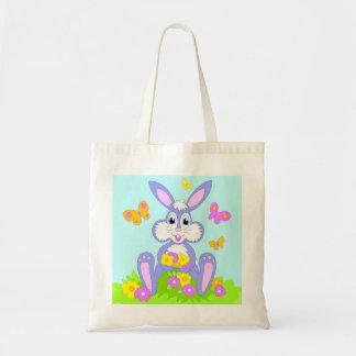 Coelho feliz dos desenhos animados das flores de sacola tote budget
