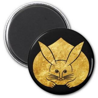 Coelho japonês do kamon de Usagi no ouro do falso Ímã Redondo 5.08cm