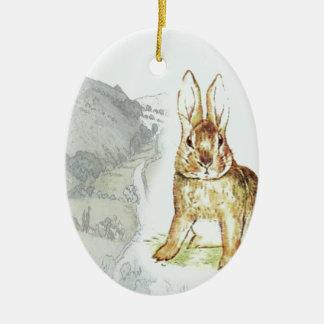 Coelho Ornamento De Cerâmica Oval