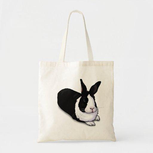 Coelho preto e branco sacola tote budget