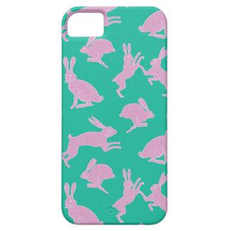 Coelhos brancos e cor-de-rosa na capa de telefone